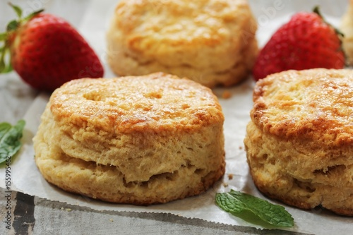 Homemade fluffy sour cream biscuits, selective focus Wallpaper Mural