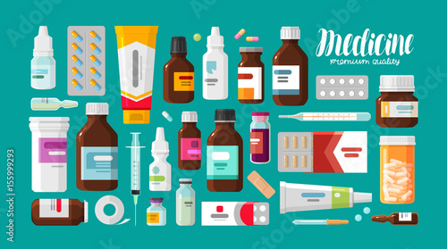 Medicine, pharmacy, hospital set of drugs with labels Wallpaper Mural