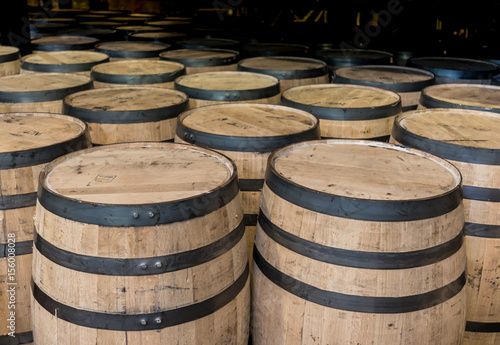 Group of Standing Bourbon Barrels