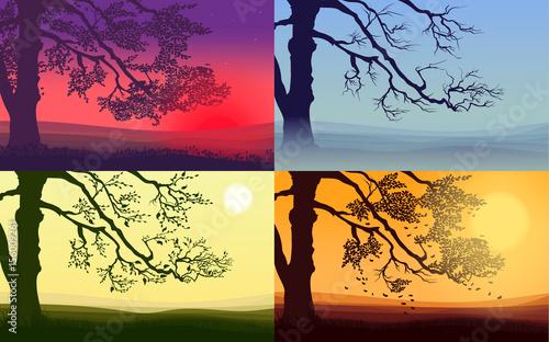 Foto op Aluminium Koraal Beautiful Colorful Trees Set