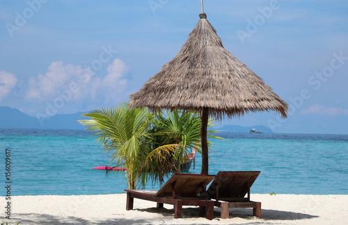 Poster Zanzibar Bed beach on white sand beach beautiful sea