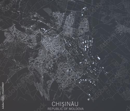 Cartina Chisinau, vista satellitare, città, Repubblica della Moldavia Canvas Print