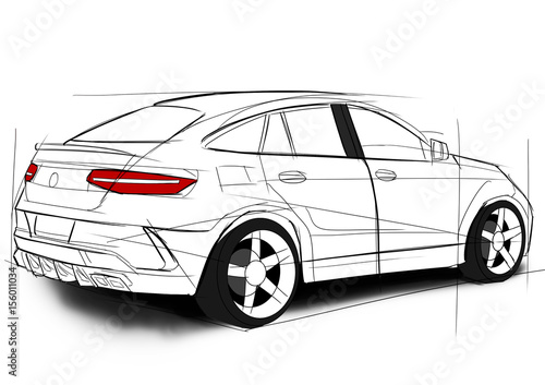 Photo Mercedes GLE sketch