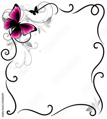 Foto op Aluminium Vlinders in Grunge Decorative frame with butterfly and decorative lines. Vector illustration