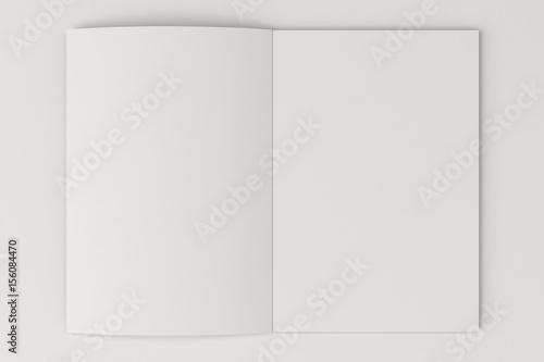 Valokuva  Blank white open brochure mock-up on white background