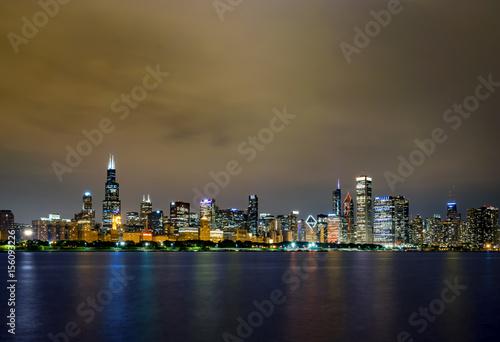 Zdjęcie XXL Chicago Skyline At Night