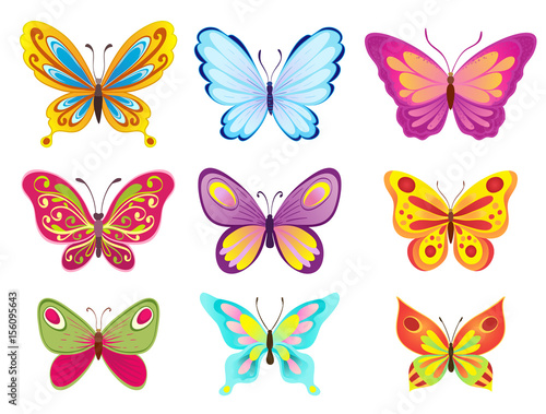 set of colorful cartoon butterflies on white. vector illustration © Ghen