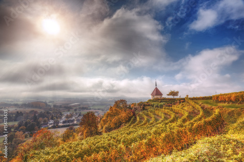 Staande foto Droogte Picturesque autumn countryside landscape. with vineyards and old church. Black Forest, Germany. Scenic wine-making and hiking background.