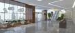 Leinwanddruck Bild - Interior of hotel reception hall 3D illustration