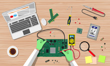 Engineer With Multimeter Check Electronic Board