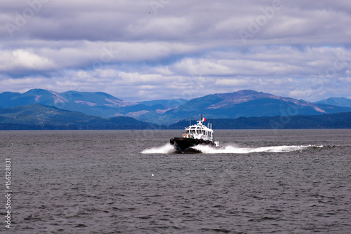 Fotografie, Obraz  Pilot boat on waves at mouth of Columbia River