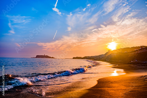 Tuinposter Zee zonsondergang 七里ガ浜からの夕焼け