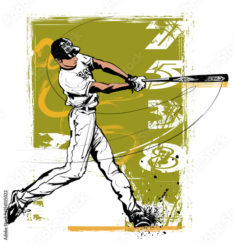 Tuinposter Art Studio Baseball hitter Swinging