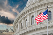 canvas print picture - Washington DC Capitol view on cloudy sky background