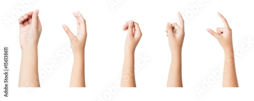 Fotomural  Set of female hands sign isolated on white background