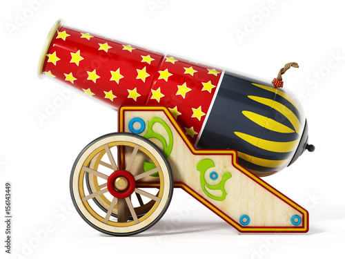 Fotografia Circus cannon isolated on white background. 3D illustration