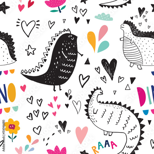 Cotton fabric Seamless pattern with cute black dinosaurs in nature