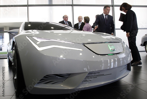 James Muir Ceo Of Spanish Car Manufacturer Seat Speaks Next To A