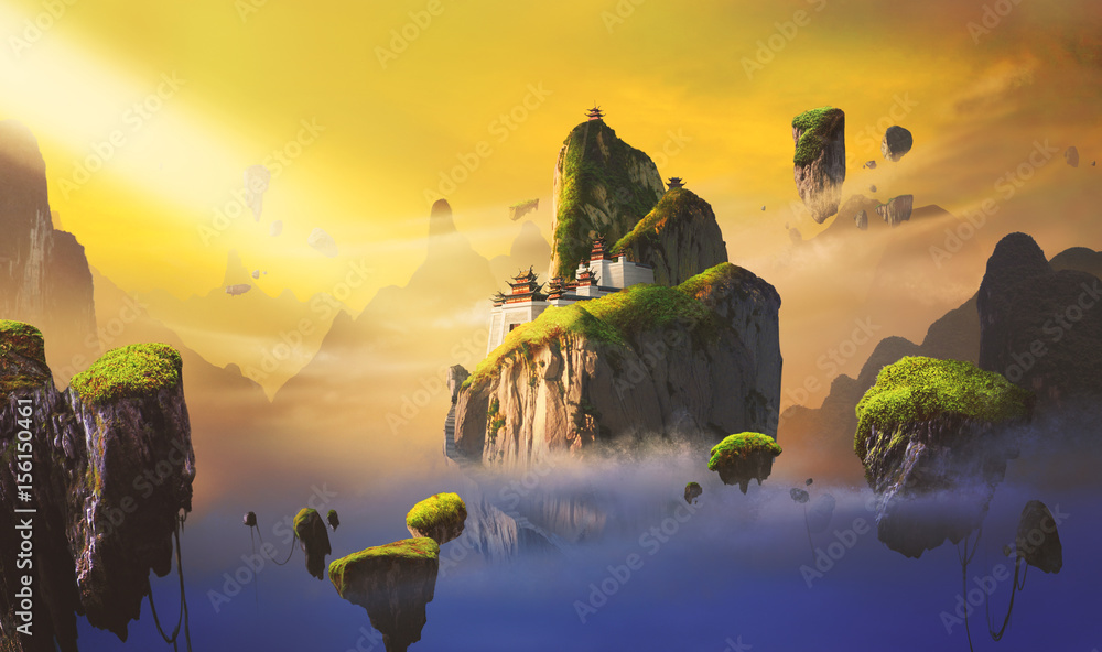 Chinese style fantasy scenes.