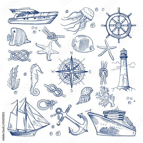 Fototapeta Sea or ocean underwater life with different animals and marine objects. Vector pictures in hand drawn style obraz