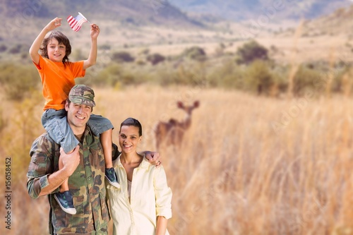 Happy family in a safari Wallpaper Mural