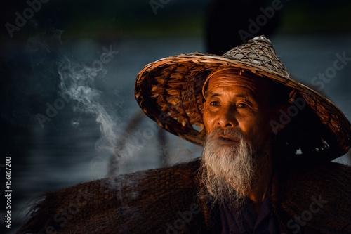 Foto op Aluminium Guilin Fisherman of Guilin, Li River and Karst mountains during the blue hour of dawn,Guangxi China