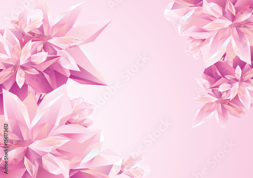 Template for congratulation postcard, Crystal Pink flowers, polygon flowers, bea Wallpaper Mural