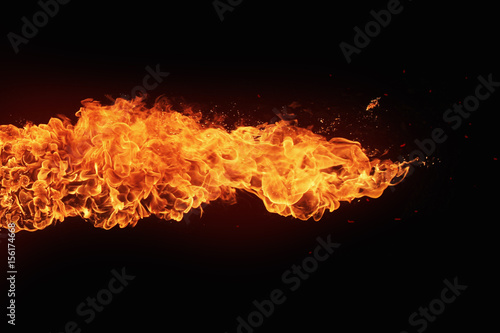 Photo  Texture of fire on a black background.