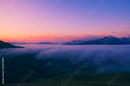 Poster Lichtroze Sunset in the Caucasus mountains