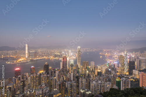 Fotobehang Midden Oosten Hong Kong skyline during sunrise