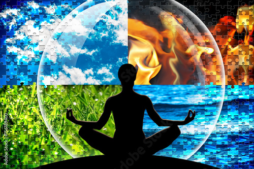Female yoga figure in a circle composed of four puzzle cut natural elements (water, fire, earth, air)  as a concept for open mind, inner power, serene Wallpaper Mural