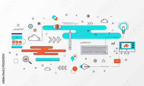 banner graphic design concept abstract element and modern thin line icons style for website business creative education poster diagram