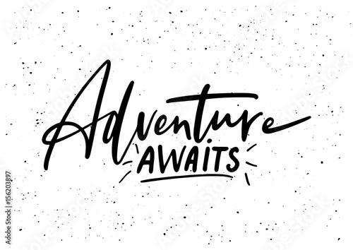 Adventure awaits. Ink brush pen hand drawn phrase lettering Canvas Print