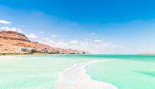 View Of Dead Sea Coastline. Texture Of Dead Sea. Salty Sea Shore. Israel