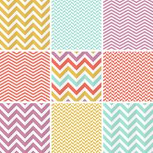 9 Seamless Zigzag Patterns. Co...