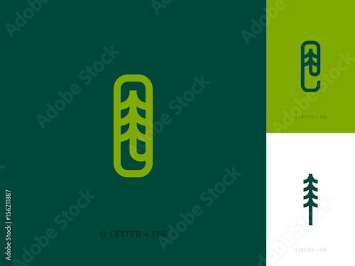 Line logo template or icon with fir tree and letters Plakát