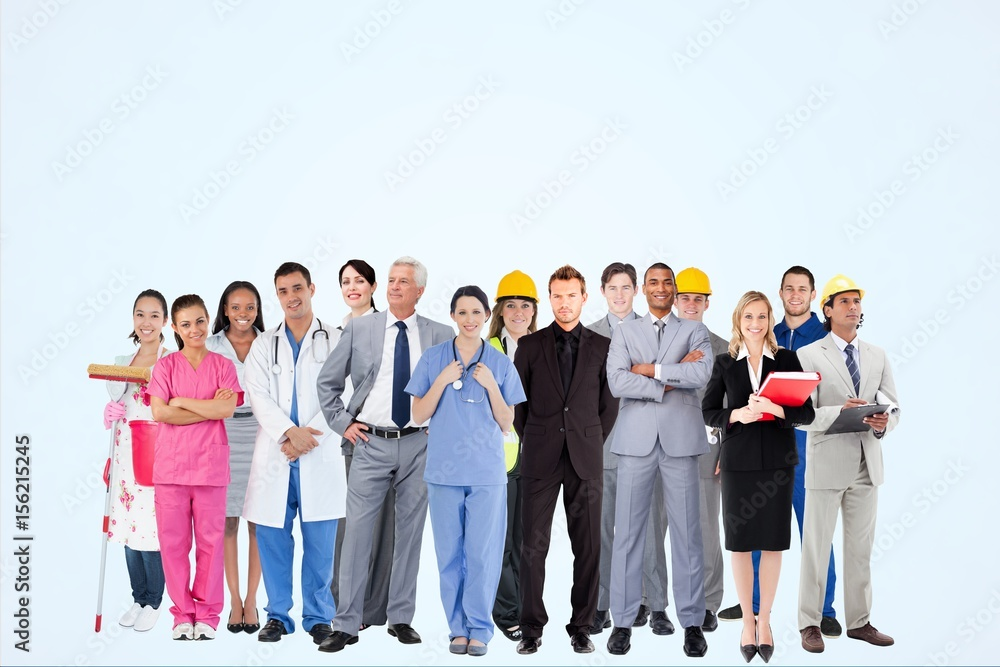 Fototapeta Worker from different professions against blue background