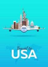 Travel To USA. Airplane With Attractions. Travel Vector Banners. Flat Style.