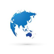 Blue World Earth Globe Asia Ja...