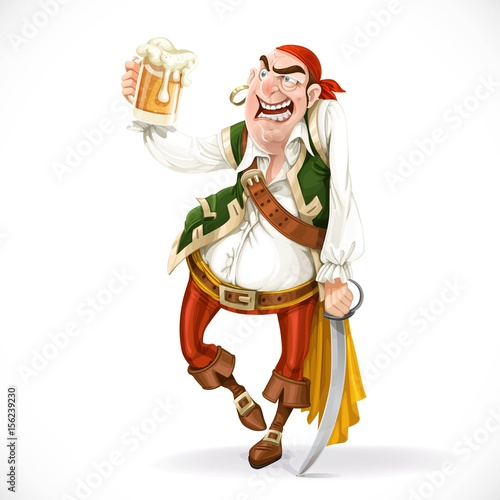 Photo Drunken pirate with a glass of beer is based on the sword isolat