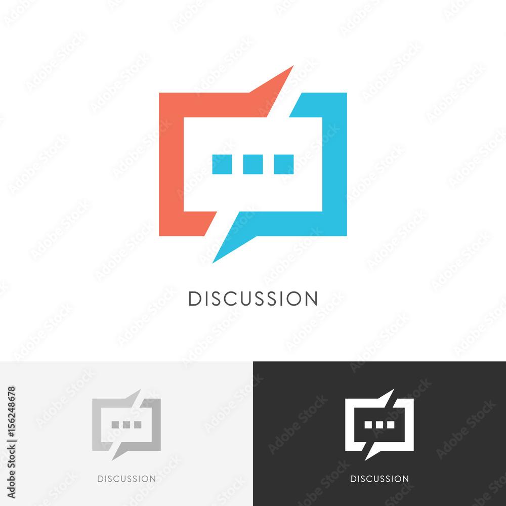 Fototapeta Discussion split logo - colored chat symbol. Conversation, dialogue and talk vector icon.