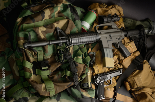 Used weapons, pistol, grenade with tactical chest rigs and