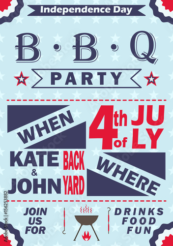 Vector independence day barbecue party invitation bbq invitation vector independence day barbecue party invitation bbq invitation card template design 4th of july stopboris Choice Image