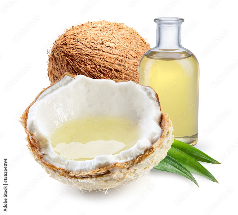 Fototapety, obrazy: Coconut with coconut oil with and half of young fresh coco nut isolated on white background. Full depth of field.