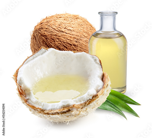 Coconut with coconut oil with and half of young fresh coco nut isolated on white background. Full depth of field.