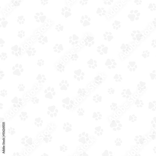 fototapeta na drzwi i meble A pattern of canine tracks of different sizes. Traces of a light gray dog on a white background. Vector illustration in a flat style