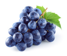 Dark Blue Grape With Leaves Is...