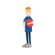 Medical worker male vector illustration in flat style