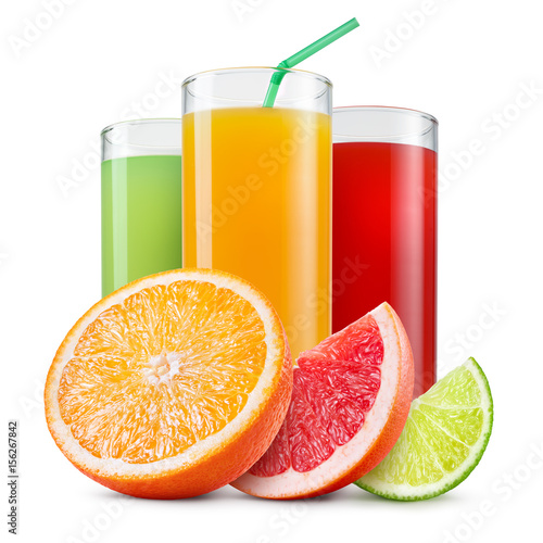 Poster Sap Isolated drinks. Glasses of fresh citrus juices (orange, grapefruit, lime) and cut fruits isolated on white background