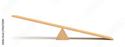 Fototapeta  3d rendering of a light wooden seesaw with the right side leaning to the ground on white background